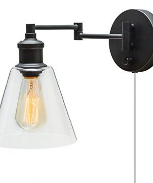 Globe Electric LeClair 1 Light Plug In Or Hardwire Industrial Wall Sconce Dark Bronze Finish OnOff Rotary Switch 6ft Clear Cord Clear Glass Shade 65311 0 300x360