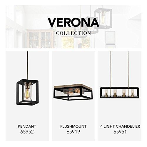 Globe Electric Verona 2 Light Flush Mount Dark Bronze Antique Brass Accents 5 Clear Glass Panes 65919 0 4