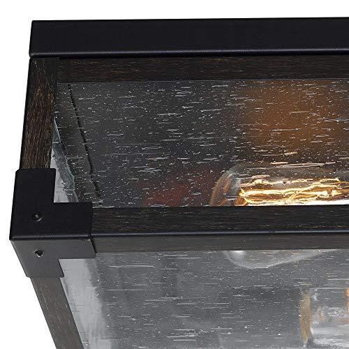 Globe Electric Williamsburg 2 Light Flush Mount Ceiling Light Dark Bronze Dark Wood Finish Accents 5 Seeded Glass Panes 65917 0 0