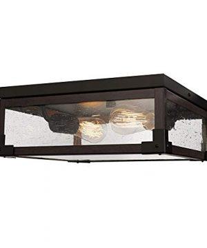 Globe Electric Williamsburg 2 Light Flush Mount Ceiling Light Dark Bronze Dark Wood Finish Accents 5 Seeded Glass Panes 65917 0 300x360