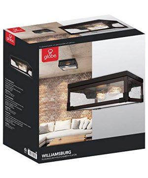 Globe Electric Williamsburg 2 Light Flush Mount Ceiling Light Dark Bronze Dark Wood Finish Accents 5 Seeded Glass Panes 65917 0 4 300x360