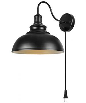 Gooseneck Wall Lamp Black Industrial Vintage Farmhouse Wall Sconces Lighting Wall Light Fixture With Plug In Cord And On Off Switch For Bedroom Nightstand 0 300x360