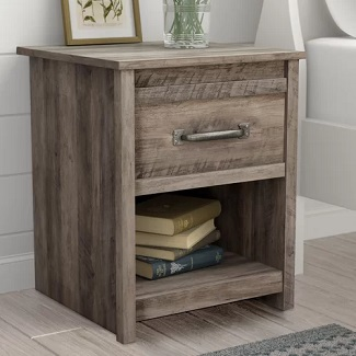 Gray Oak Millom 1 Drawer Nightstand