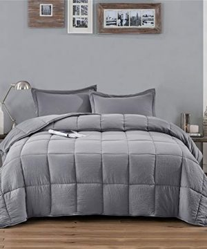 HIG Pre Washed Down Alternative Comforter Set Twin Reversible Shabby Chic Quilt Desgin Box Stitched With 4 Corner Tabs Lightweight For All Season Light Gray Duvet Comforter With 2 Pillow Shams 0 300x360