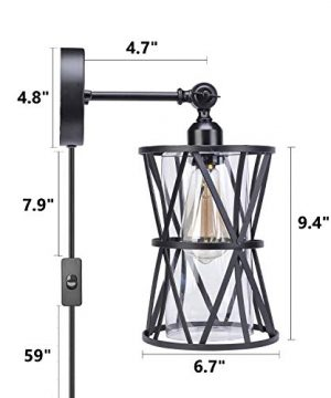 HMVPL Adjustable Plug In Wall Light Industrial Wire Cage Light E26 Base With OnOff Switch And Glass Lamp Shade Vintage Farmhouse Wall Sconce Fixture For Headboard Kitchen Island Bedroom Living Room 0 0 300x360