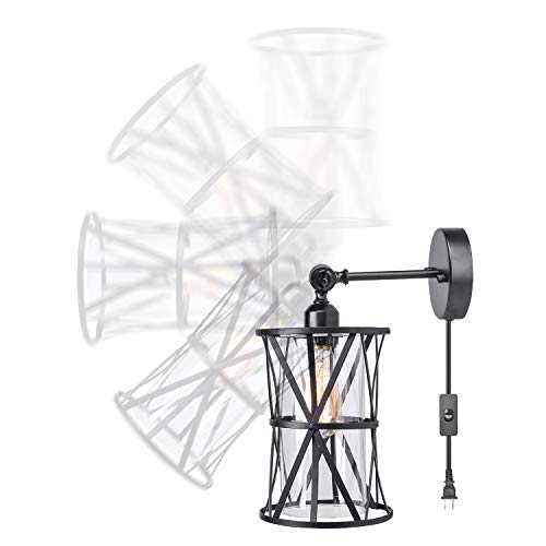 HMVPL Adjustable Plug In Wall Light Industrial Wire Cage Light E26 Base With OnOff Switch And Glass Lamp Shade Vintage Farmhouse Wall Sconce Fixture For Headboard Kitchen Island Bedroom Living Room 0 1