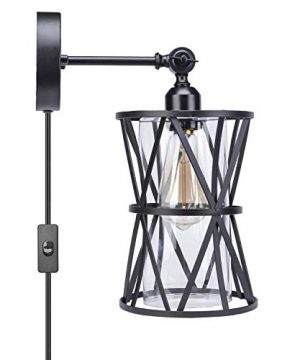 HMVPL Adjustable Plug In Wall Light Industrial Wire Cage Light E26 Base With OnOff Switch And Glass Lamp Shade Vintage Farmhouse Wall Sconce Fixture For Headboard Kitchen Island Bedroom Living Room 0 300x360