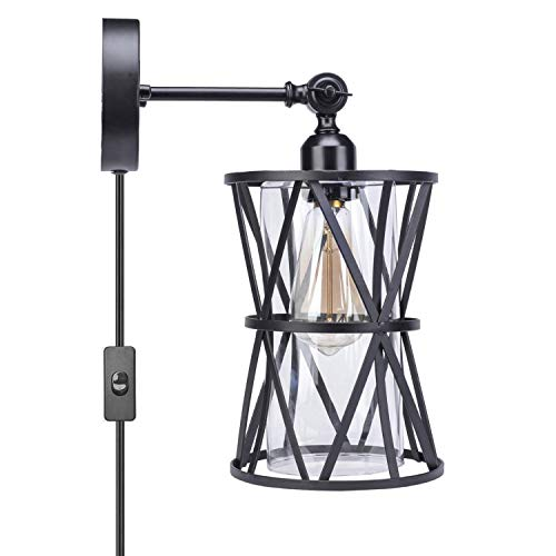 HMVPL Adjustable Plug In Wall Light Industrial Wire Cage Light E26 Base With OnOff Switch And Glass Lamp Shade Vintage Farmhouse Wall Sconce Fixture For Headboard Kitchen Island Bedroom Living Room 0