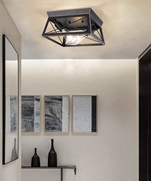 HMVPL Industrial Close To Ceiling Light Farmhouse Flush Mount Lighting Fixtures Mini Ceiling Lamp 2 Light For Kitchen Island Dining Room Bedroom Foyer Hallway 0 5 300x360