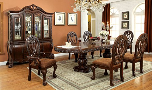 HOMES Inside Out Aragon 7 Piece Formal Dining Table Set Cherry 0 0