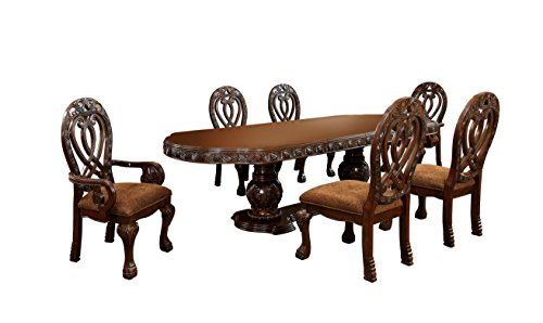 HOMES Inside Out Aragon 7 Piece Formal Dining Table Set Cherry 0