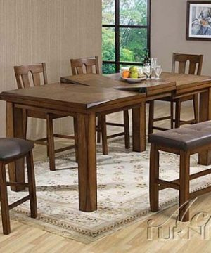 HP Counter Height Table With Butterfly Leaf And 4 Counter Height Chairs And Side Bench In Rusitc Oak Finish Ac0084567 0 300x360