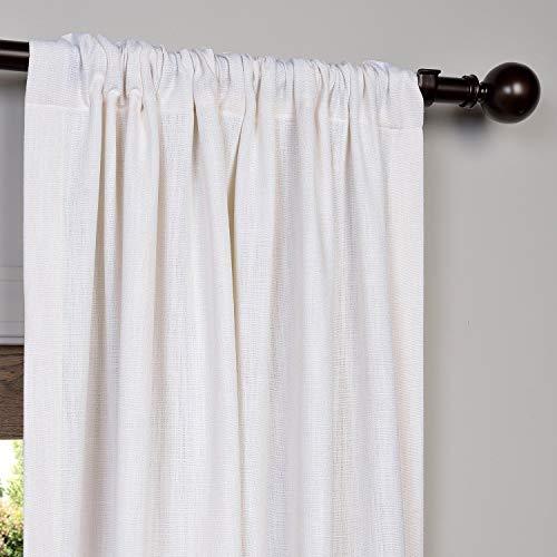 HPD Half Price Drapes FHLCH VET13191 108 Heavy Faux Linen Curtain 50 X 108 White 0 1