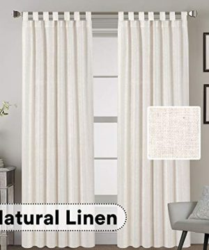 HVERSAILTEX Tab Top Natural Linen Blended Airy Curtains For Living Room Home Decor Soft Rich Material Light Reducing Bedroom Drape Panels Set Of 2 52 X 84 Inch Natural Pattern 0 300x360