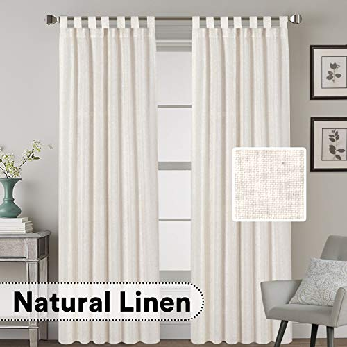 HVERSAILTEX Tab Top Natural Linen Blended Airy Curtains For Living Room Home Decor Soft Rich Material Light Reducing Bedroom Drape Panels Set Of 2 52 X 84 Inch Natural Pattern 0