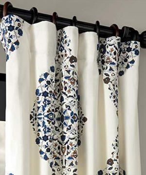 Half Price Drapes PRTW D41 84 Kerala Printed Cotton Twill Curtain 50 X 84 Blue 0 0 300x360