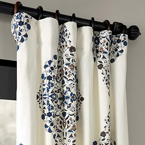 Half Price Drapes PRTW D41 84 Kerala Printed Cotton Twill Curtain 50 X 84 Blue 0 0