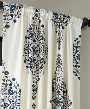 Half Price Drapes PRTW D41 84 Kerala Printed Cotton Twill Curtain 50 X 84 Blue 0 1 300x360