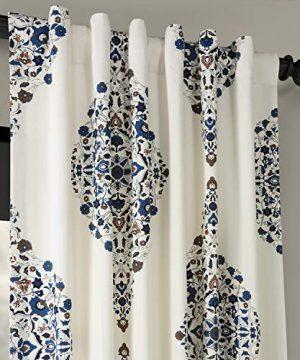 Half Price Drapes PRTW D41 84 Kerala Printed Cotton Twill Curtain 50 X 84 Blue 0 2 300x360