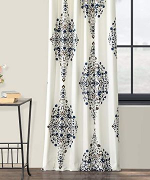 Half Price Drapes PRTW D41 84 Kerala Printed Cotton Twill Curtain 50 X 84 Blue 0 3 300x360