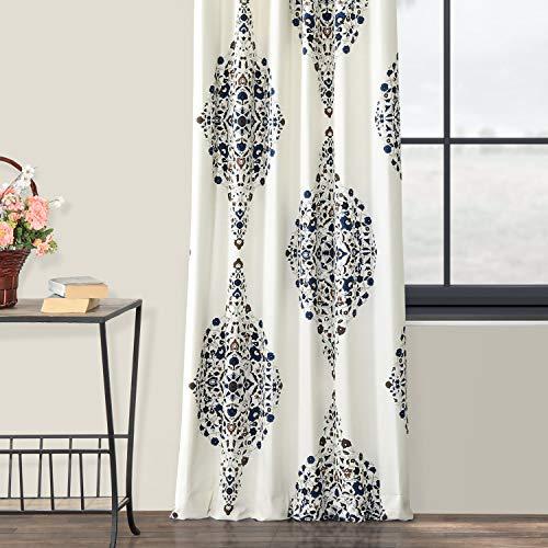 Half Price Drapes PRTW D41 84 Kerala Printed Cotton Twill Curtain 50 X 84 Blue 0 3