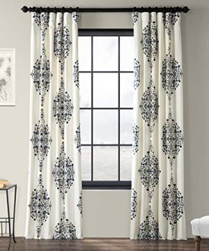 Half Price Drapes PRTW D41 84 Kerala Printed Cotton Twill Curtain 50 X 84 Blue 0 300x360