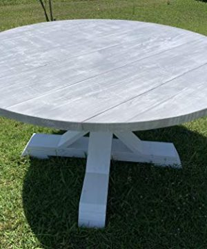 Handmade Rustic Round Gray Farmhouse Dining Table 0 300x360