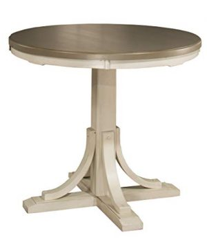 Hillsdale Furniture Counter Height Round Dining Table Distressed GraySea White 0 300x360