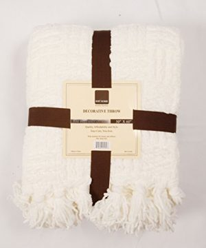 Home Soft Things Cable Knitted Throw Couch Cover Blanket 50 X 60 Antique White 0 1 300x360