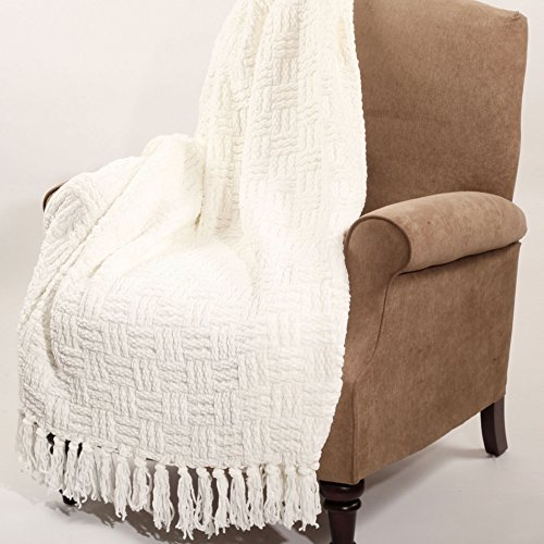 Home Soft Things Cable Knitted Throw Couch Cover Blanket 50 X 60 Antique White 0