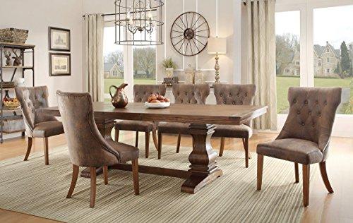 Homelegance Marie Louise 9 Piece Dining Room Set In Rustic Brown 0