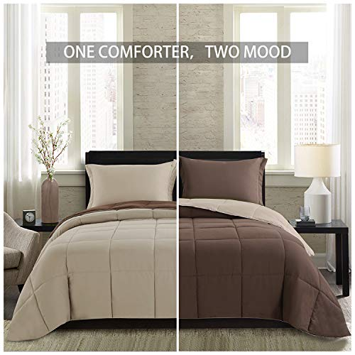 Homelike Moment Lightweight Comforter Set Twin Brown Beige All Season Down Alternative Comforter Set Summer Duvet Insert 2 Piece 1 Comforter With 1 Sham Reversible Twin Size BrownBeige 0