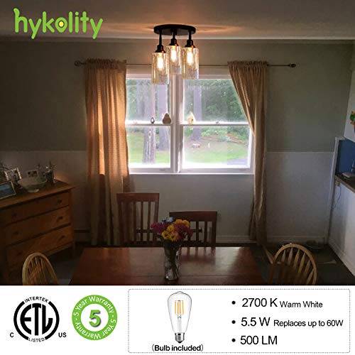 Hykolity 3 Light Semi Flush Mount Ceiling Light Oil Rubbed Bronze Finish With Seeded Glass Shades LED Edison Bulbs As Bonus Dimmable ETL Listed For Kitchen Stair And Hallway 0 0