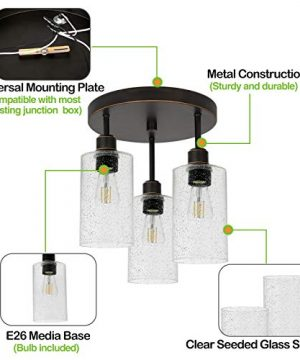 Hykolity 3 Light Semi Flush Mount Ceiling Light Oil Rubbed Bronze Finish With Seeded Glass Shades LED Edison Bulbs As Bonus Dimmable ETL Listed For Kitchen Stair And Hallway 0 1 300x360