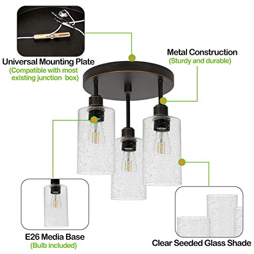 Hykolity 3 Light Semi Flush Mount Ceiling Light Oil Rubbed Bronze Finish With Seeded Glass Shades LED Edison Bulbs As Bonus Dimmable ETL Listed For Kitchen Stair And Hallway 0 1