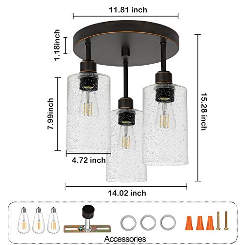 Hykolity 3 Light Semi Flush Mount Ceiling Light Oil Rubbed Bronze Finish With Seeded Glass Shades LED Edison Bulbs As Bonus Dimmable ETL Listed For Kitchen Stair And Hallway 0 2