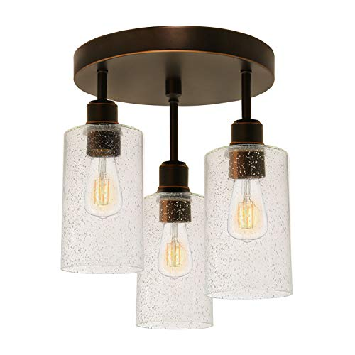 Hykolity 3 Light Semi Flush Mount Ceiling Light Oil Rubbed Bronze Finish With Seeded Glass Shades LED Edison Bulbs As Bonus Dimmable ETL Listed For Kitchen Stair And Hallway 0