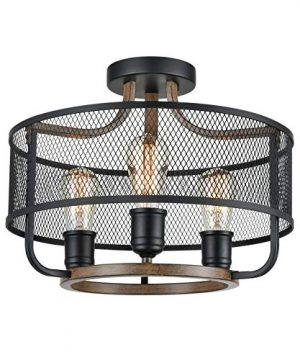 Industrial Black Semi Flush Mount Ceiling Light Metal Mesh Drum Shade With Wood Finish 0 300x360