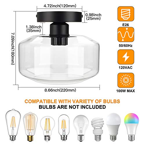 Industrial Semi Flush Mount Ceiling Light Clear Glass Pendant Lamp Shade Farmhouse Lighting For Porch Hallway Kitchen Island Corridor Bedroom Bar Vintage Hanging Light Fixtures Bulb Not Included 0 0