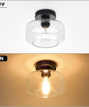 Industrial Semi Flush Mount Ceiling Light Clear Glass Pendant Lamp Shade Farmhouse Lighting For Porch Hallway Kitchen Island Corridor Bedroom Bar Vintage Hanging Light Fixtures Bulb Not Included 0 2 300x360