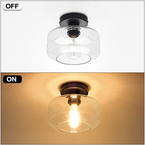 Industrial Semi Flush Mount Ceiling Light Clear Glass Pendant Lamp Shade Farmhouse Lighting For Porch Hallway Kitchen Island Corridor Bedroom Bar Vintage Hanging Light Fixtures Bulb Not Included 0 2