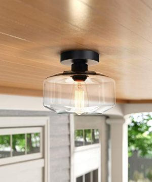 Industrial Semi Flush Mount Ceiling Light Clear Glass Pendant Lamp Shade Farmhouse Lighting For Porch Hallway Kitchen Island Corridor Bedroom Bar Vintage Hanging Light Fixtures Bulb Not Included 0 3 300x360