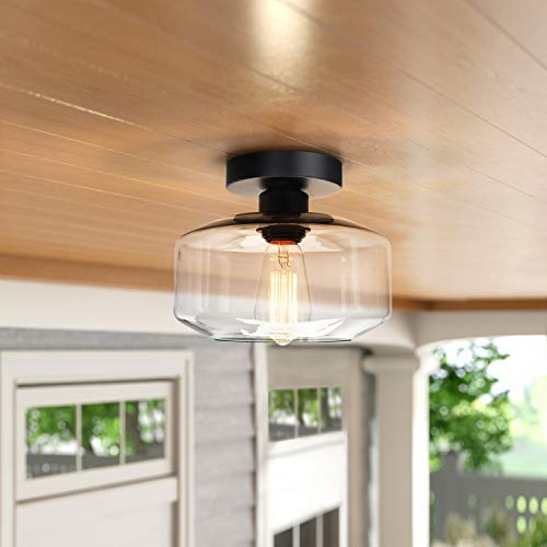 Industrial Semi Flush Mount Ceiling Light Clear Glass Pendant Lamp Shades Farmhouse Lighting For Porch Hallway Kitchen Farmhouse Goals