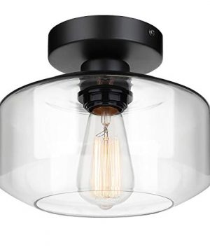 Industrial Semi Flush Mount Ceiling Light Clear Glass Pendant Lamp Shade Farmhouse Lighting For Porch Hallway Kitchen Island Corridor Bedroom Bar Vintage Hanging Light Fixtures Bulb Not Included 0 300x360