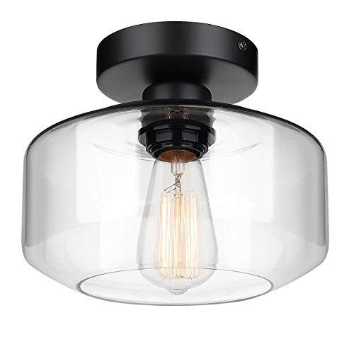 Industrial Semi Flush Mount Ceiling Light Clear Glass Pendant Lamp Shade Farmhouse Lighting For Porch Hallway Kitchen Island Corridor Bedroom Bar Vintage Hanging Light Fixtures Bulb Not Included 0