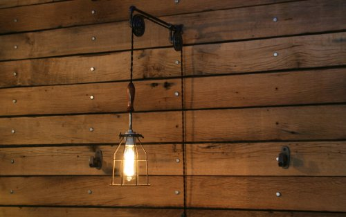 Industrial Wall SconcePulley Wall Light Pendant With Easy Height Adjustment To Get The Light Exactly Where You Want It 0 1
