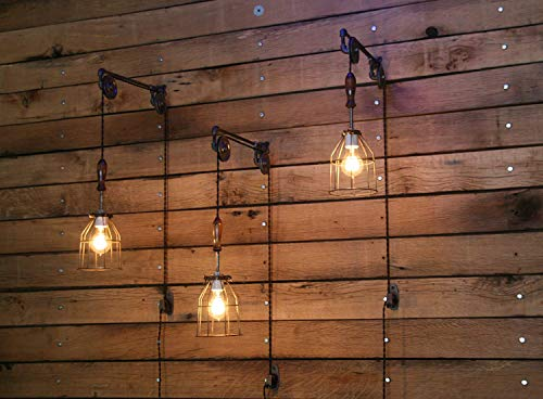 Industrial Wall SconcePulley Wall Light Pendant With Easy Height Adjustment To Get The Light Exactly Where You Want It 0