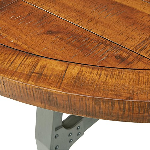 InkIvy Lancaster Round Dining Table Solid Wood Metal Base Dining Room Table Amber Wood Industrial Style Kitchen Table 1 Piece Metal Frame Wooden Top Round Table For Dining Room 0 1