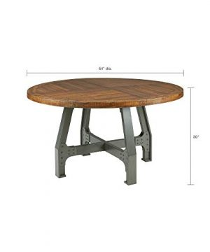 InkIvy Lancaster Round Dining Table Solid Wood Metal Base Dining Room Table Amber Wood Industrial Style Kitchen Table 1 Piece Metal Frame Wooden Top Round Table For Dining Room 0 2 300x360