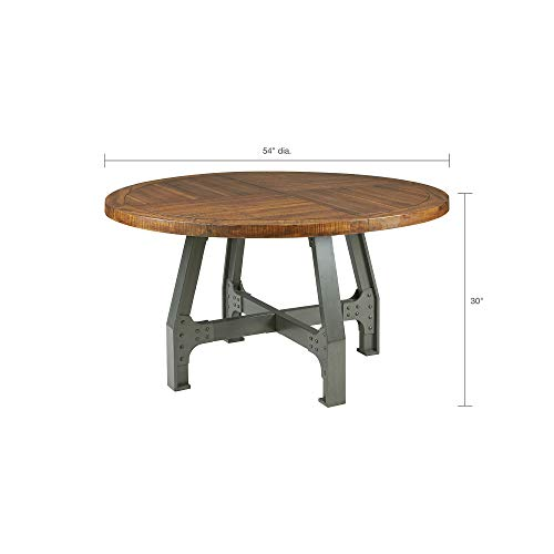 InkIvy Lancaster Round Dining Table Solid Wood Metal Base Dining Room Table Amber Wood Industrial Style Kitchen Table 1 Piece Metal Frame Wooden Top Round Table For Dining Room 0 2